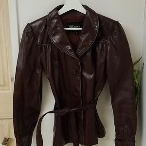Vintage leather 1970's merlot leather jacket